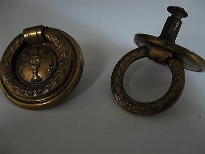 Brass Look Finish Antique Drawer Pulls, Cabinet Knobs or Handles with Urn