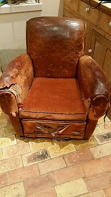 vintage 1930's leather club chair