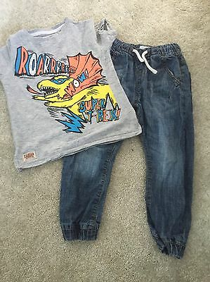 Next Boys Outfit 2-3 Years Top & Cuffed Jeans