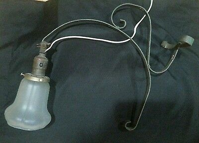Large Vintage Wrought Iron Wall Lamp Sconce With Frosted Glass Rustic