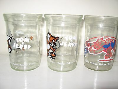 Three Vintage Welch's Jelly Jar Tom & Jerry Glasses Excellent Condition