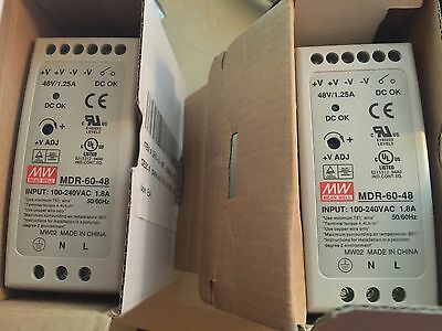 LOT of 2 MEAN WELL [PowerNex] MDR-60-48 60W Industrial DIN Rail Power Supply