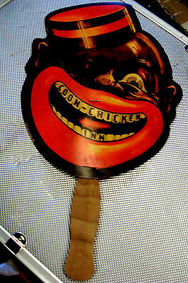 Comical Black Americana Figural Promotional Fan: COON CHICKEN INN WITH MENU