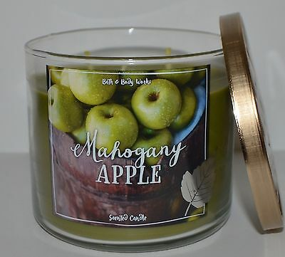 New Bath & Body Works Mahogany Apple Scented Candle 3 Wick 14.5 Oz Large Green