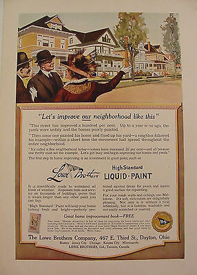 1914 Lowe Brothers Liquid Paint Ad ~ Lovely Neighborhood ~ Dayton, Ohio