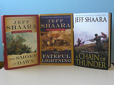 LOT OF 3 JEFF SHAARA* 1ST EDITIONS Smoke at Dawn*Chain of Thunder*Lightning