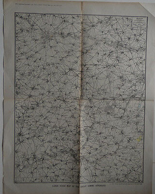 Old print 1917 Map of the Great Somme Offensive Large scale World War 1 WW1 War