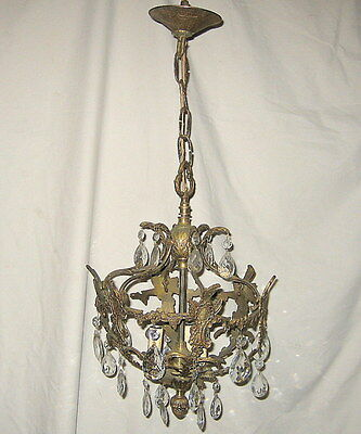 Ornate Brass 3 Light Sphere Foyer Entry Crystal Chandelier Ceiling Canopy Prisms