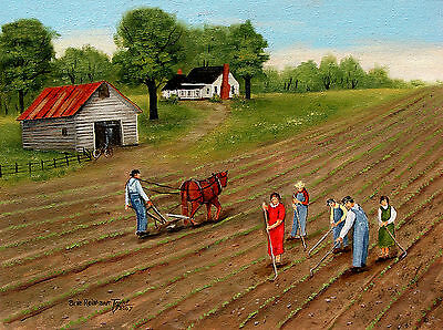 Americana Folk Art Print Country Farming Horse Plowing Cotton Barn Arie Taylor
