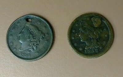 Lot of 2 Large Cent Coppers 1852 Repaired Hole & Counter Stamped &1834 W/ Hole