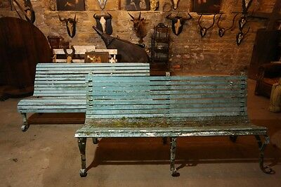 Near Pair of Early 20th Century Iron Garden Benches in Blue Paint