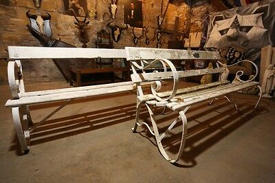 Pair of Early 20th century White painted Garden Benches