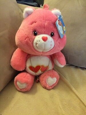 "Care Bear LOVE A LOT  Bear 20th Anniversary Plush 13"" with Tags And Neckace"