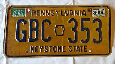 Vintage Pennsylvania PA Penna License Plate GBC353 1984 1985  Reg. Tag Sticker