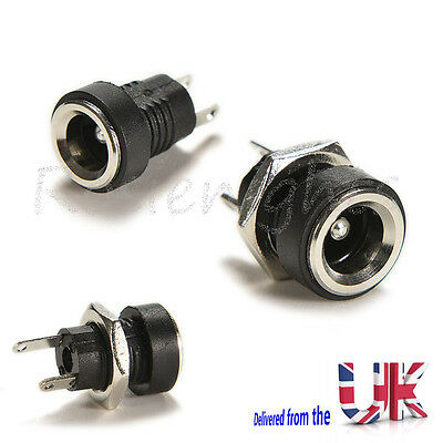 2Pcs DC Power Supply Jack Socket Female Panel Mount Connector 5.5 x 2.1mm Uk
