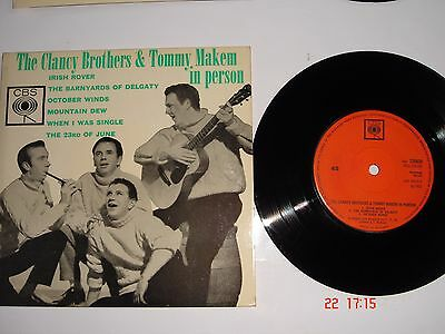 "The Clancy Brothers & Tommy Makem In Person 7"" Vinyl EP 6 Songs 1962"