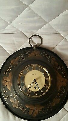 Vintage Harris and Mallow Tole Wall  Clock German Clock Works 8 Day