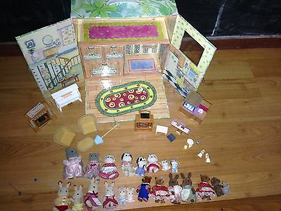HUGE LOT Calico Critters Carry Case Families Aquarium Fireplace Hippos Tv  More!