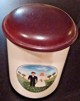 Villeroy & Boch Naif Wedding Jar Spice Canister Wood Lid Luxembourg Bride Groom