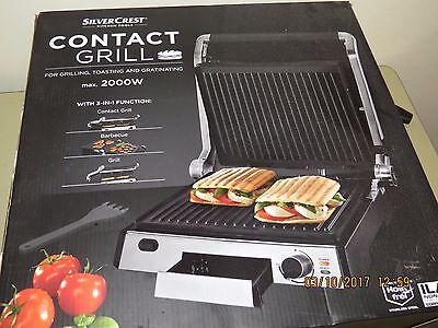 SILVERCREST CONTACT GRILL, barbecue, panini press, toaster 2000w..