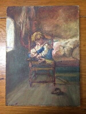Vintage Oil On Canvas Painting Of Young Boy Getting Dressed In Early Morning