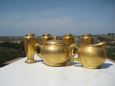 Vintage Gold Etched Pickard China Sugar And Creamer + 4 Salt Papper Shakers