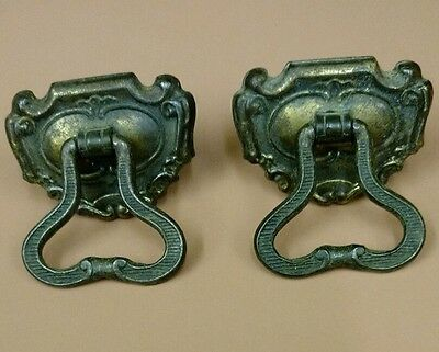 "Vintage Pair of Drawer Pulls 2"" Brass"