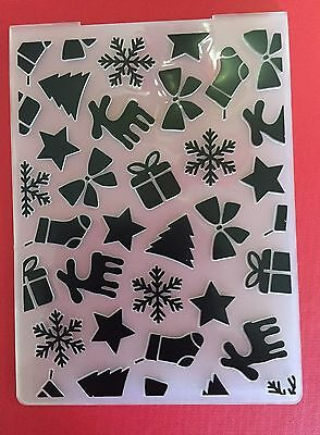 NEW• Cute• CHRISTMAS Themed Embossing Folder • Use With Cuttlebug Or Sizzix