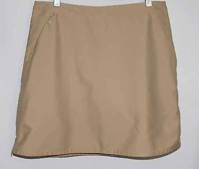 PATAGONIA Beige Polyester Golf Skort with Side Zippers Size 10 - No Stains