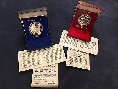 Franklin Mint Sterling Silver Proof Lot-Barbados $10 &  Bahamas $2-Free Ship USA