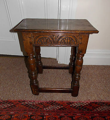 A Fine 17th Century Charles II Carved Oak Joint Stool c1660-1680