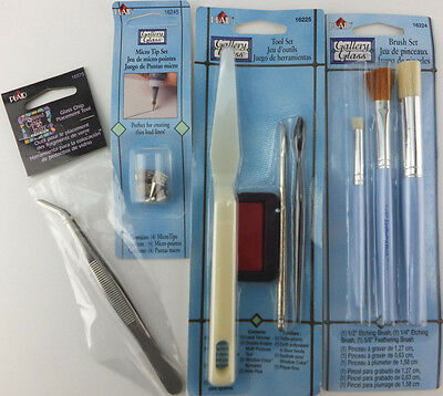 Gallery Glass Tool Set + Micro Tip Set + Brush Set + Glass Chip Placement Tool