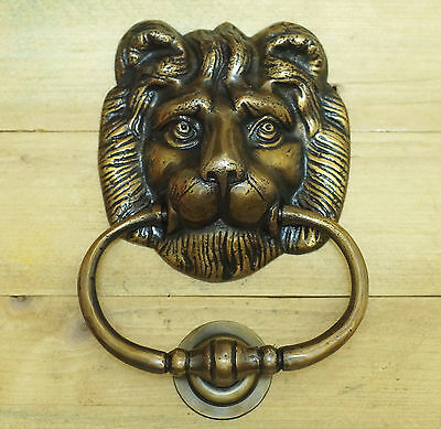 "6.22"" Vintage Solid Brass Lion King Head front Door KNOCKER with Pull Ring Knock"