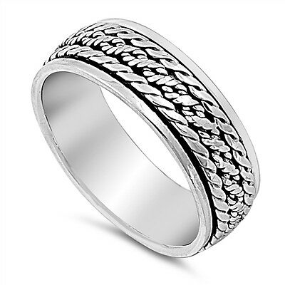 Celtic Weave 925 Sterling Silver Spinner Spin Band Ring Size 8-14