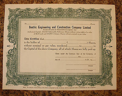 Newfoundland Shares Stock Certificate - Beothic Engineering Circa 1960's
