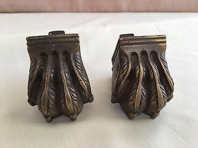 Vintage Hairy Paw Solid Brass Casters 1 Pair 2 Feet with Wheels Castor