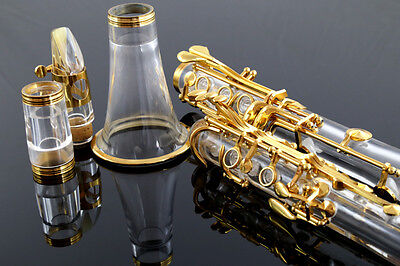 Musical instrument crystal  transparent body gold  plated clarinet