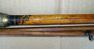 Kingfisher Competitor X 204 Antique 3 Pc Bamboo Fishing Rod Rare Signed X 204