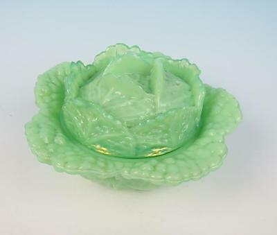 Vintage Portieux Vallerysthal Lidded GREEN CABBAGE BOWL French Opaline Art Glass