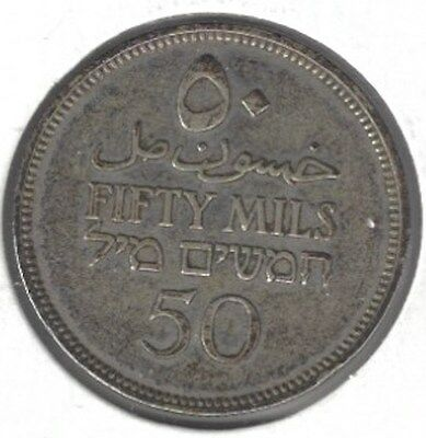 1939 Palestine (British)  50 Mils Silver Better Grade Seldom Offered