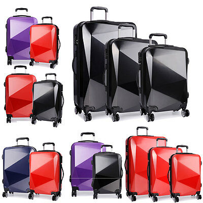 KONO Hardshell Suitcase Diamond Luggage 4 Wheel Travel Trolley Case PC