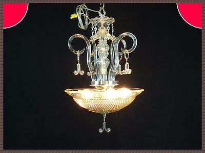 Vintage Clear Art Deco Shade Chandelier Light Fixture Amazing Crystal Scrolls