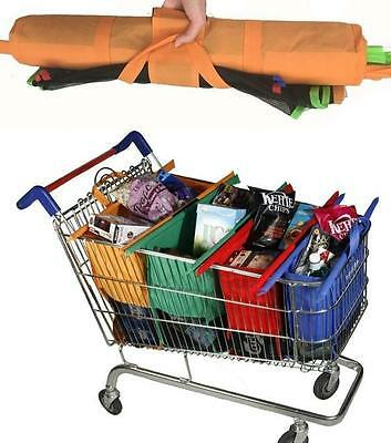 1 Set of 4pcs Bags Reusable Grocery Cart Shopping Trolley Bags Shopping Carrier