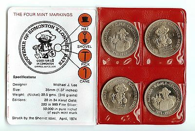 1974 Edmonton Canada Klondike Dollars - RCMP Centennial - Set of 4 in Holder