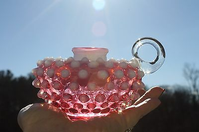 Fenton Cranberry Opalescent Hobnail Candle Holder with Finger Loop