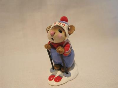 Wee Forest Folk Skier Mouse Light Blue USA - Retired in Wff Box