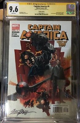 Captain America #6 Cgc Ss 9.6 Signed By Steve Epting Variant Cover