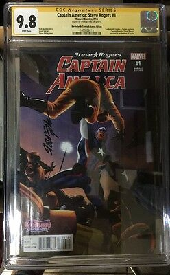 Captain America Steve Rogers #1 Cgc Ss 9.8 Signed By Steve Epting Rare Variant