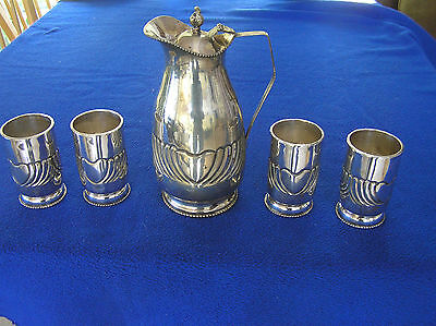 1088 g Silver 900 repousse Oriental/Eastern wine/water pitcher four glasses