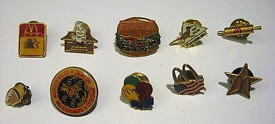 Lot of 10 Vintage McDONALD'S Employee Pins fast food *advertising* Lot #3
